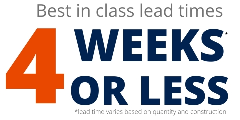 High Precision Polymer Tubing lead times of 4 weeks or less. Lead time varies based on quantity and construction. (Graphic: Business Wire)