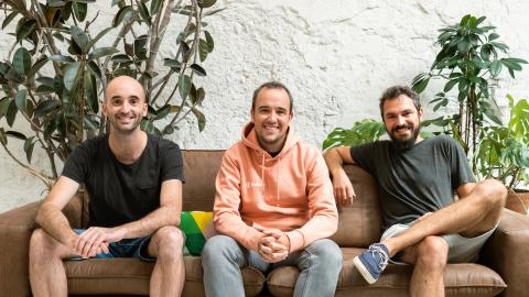 Factorial founders Pau Ramon, Bernat Farrero, and Jordi Romero celebrate the close of an $80m series B funding round. (Photo: Business Wire)
