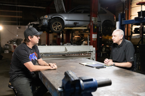 PRI President Dr. Jamie Meyer, right, interviewed PFI Speed Owner Brent Leivestad, whose shop was hit with an $180,000 fine for selling race parts. (Photo: Business Wire)