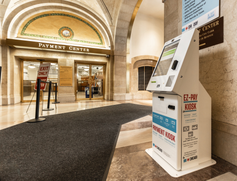 Chicago's more than 70 payment kiosks provide self-service access in downtown and neighborhood locations, where residents can pay for water bills, parking tickets, taxes, and more. Photo by Kyle Flubacker, courtesy CityBase.