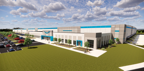 A rendering of Amazon's announced Delta Charter Township fulfillment center, anticipated to launch in mid-Michigan in 2022. (Photo: Business Wire)