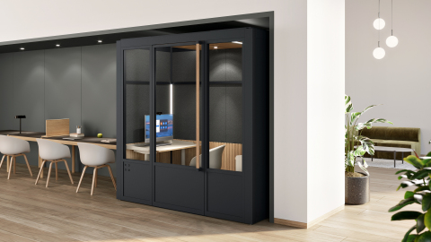 """Modular workspace solutions provider ROOM, alongside Zoom and HP, have collaborated to create a turnkey video conference space purpose-built for the new hybrid workplace. The Room for Zoom launches today on ROOM.com, and pairs ROOM's best-selling flexibly-designed single-person Focus Room with the HP Collaboration G6 27"""" All-In-One touchscreen pre-installed with Zoom Rooms software, and a Logitech Brio webcam. The Room for Zoom also comes equipped with custom built LED light strips with remote dimming to create the optimal shadow-free video conference experience. With the new Room for Zoom, companies can now effectively bridge the gap between in-person and remote for the new hybrid workspace. (Photo: Business Wire)"""