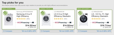 Eco Financing™ (www.ecofinancing.com) makes it easy and affordable to purchase energy-efficient appliances. (Graphic: Business Wire)