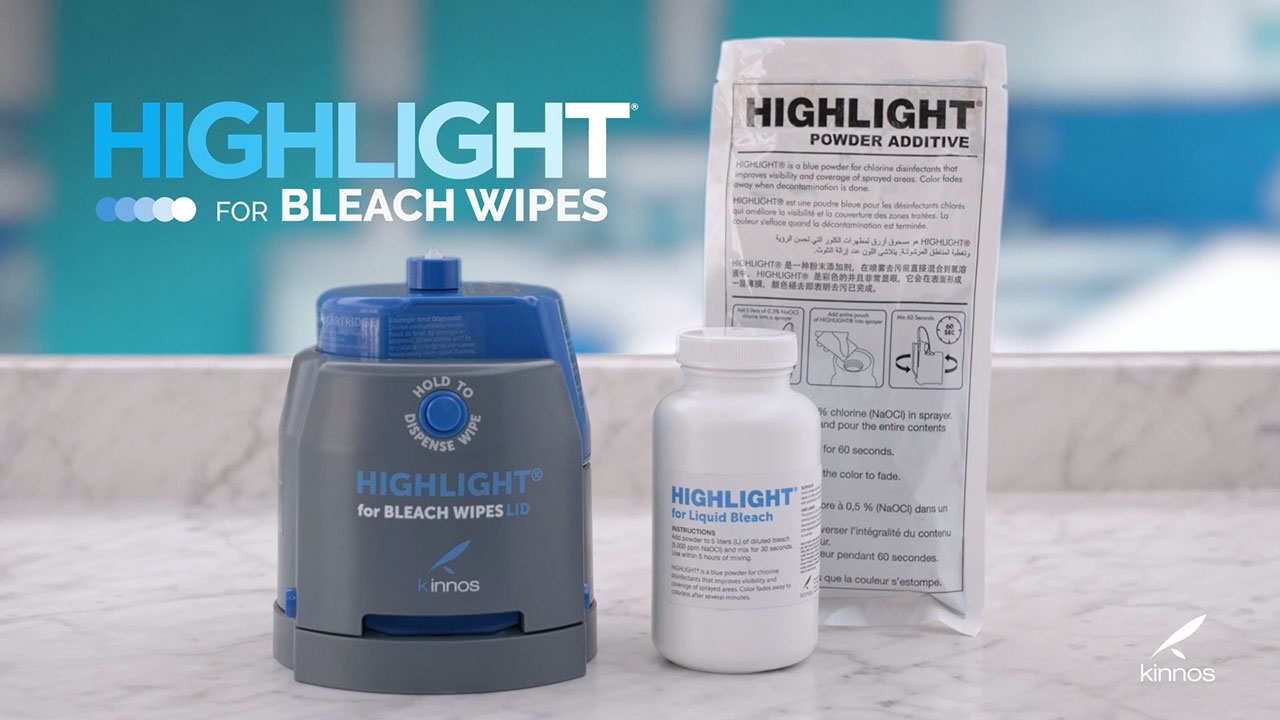 Kinnos' flagship product, Highlight® for Bleach Wipes, colors the wipes hospitals everywhere use to disinfect surfaces and ensure patient safety. The bright blue color lets users see their work and is shown to quantifiably improve their thoroughness in cleaning. The color fades in approximately the same amount of time recommended for the surface to stay wet with bleach. By helping users visualize surface coverage, Highlight provides retraining that overcomes educational and language barriers with every wipe.