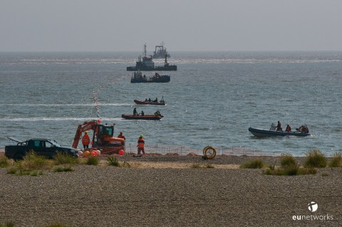 Cable shore-end work at Lowestoft (Photo: Business Wire)