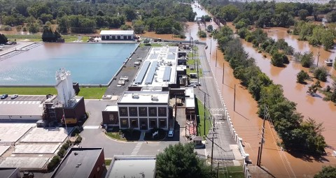 Aerial view of the company's Raritan Millstone Water Treatment Plant during Tropical Depression Ida. (Photo: Business Wire)