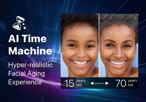 Experience the most realistic face aging simulation with the YouCam Time Machine (Graphic: Business Wire)