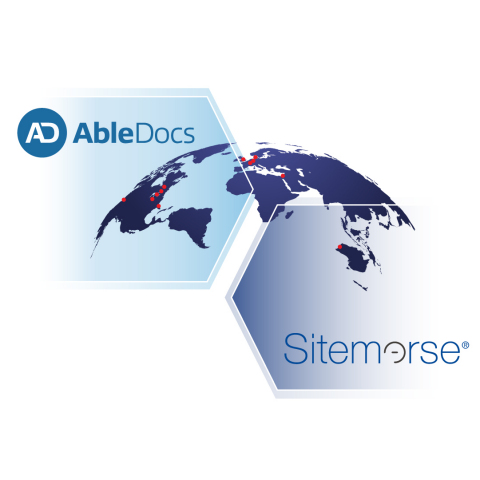 The AbleDocs Inc. and Sitemorse company logos coming together over a globe, with red markers to represent current AbleDocs locations around the world. (Graphic: Business Wire)
