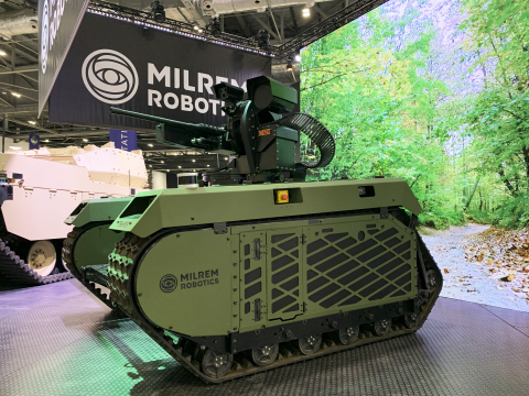 Utilising Milrem Robotics' THeMIS unmanned ground vehicles (UGV) integrated with MSI-DSL's Remote Weapon Systems (RWS) and Electrical Optical Sensor Systems the companies are offering a step change in countering mini-UAV, loitering munitions or other small difficult to detect airborne targets. (Photo: Business Wire)