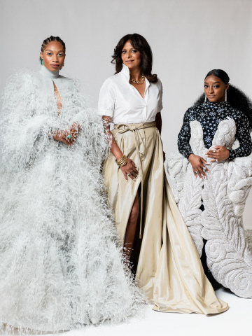 Allyson Felix, Gap Inc. CEO Sonia Syngal, and Simone Biles attend The Met Gala with Athleta (September 2021, Photo courtesy of Benjamin Rosser)