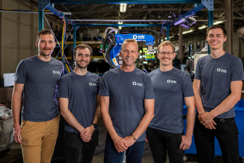 Ambi Robotics founders and CEO. Pictured from left to right: Stephen McKinley, Co-Founder and VP of Operations; Matthew Matl, Co-Founder, and VP, Software; Jim Liefer, CEO; Jeff Mahler, Co-Founder and CTO; David Gealy, Co-Founder and VP of Mechatronics. (Photo: Business Wire)