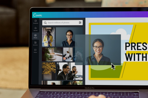 Canva has an expansive library of more than 800,000 templates and over 100 million design ingredients including photos, videos, stickers, audio tracks, and illustrations.  (Photo: Business Wire)