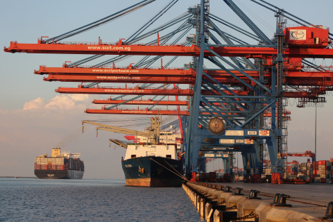 Container ship at Port Said, December 2020 (Credit: ImAAm / Shutterstock.com)