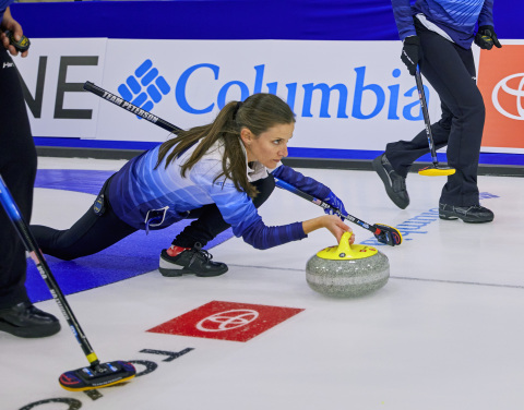 USA Curling's Tara Peterson competes on the ice in Columbia's new curling uniform. (Photo: Business Wire)