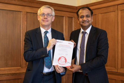 Left to Right: Professor Chris Linton Acting President and Vice Chancellor of Loughborough University and Manish Upadhyay, Head Sports Technology Vertical, Tech Mahindra (Photo: Business Wire)