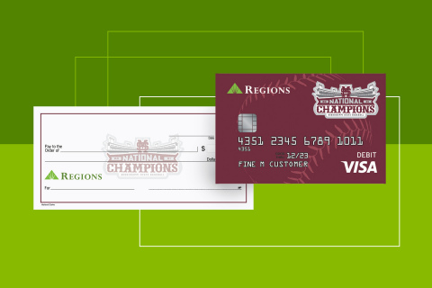 Commemorative debit card and checks are now available for Regions Bank customers to celebrate Mississippi State University's first College World Series National Championship win. Cards and checks are available online, in Regions branches, and over the phone. (Graphic: Business Wire)