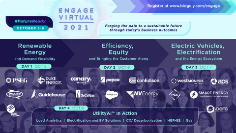 Bidgely Engage Virtual 2021, the energy industry's premier AI event, will take place October 5-8, featuring speakers like Salesforce, Duke Energy, Con Edison, Portland Gas Electric, PEPCO and more. (Graphic: Business Wire)