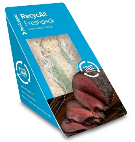 A Market First: The ProAmpac RecycAll Freshpack sandwich skillet is an all-fiber sandwich skillet with a window, considered plastic-free in the United Kingdom and Europe. It provides much easier recycling for consumers. (Photo: Business Wire)