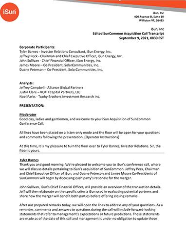 Edited SunCommon Acquisition Call Transcript, 9/9/2021
