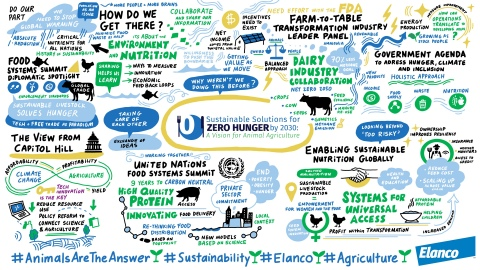 The animal protein industry and global leaders convened to highlight the role animals can play in nourishing the population and curbing climate change. (Graphic: Business Wire)