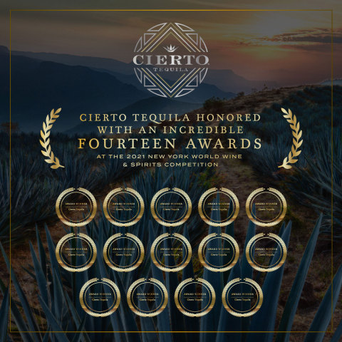 Cierto Tequila Honored With an Incredible Fourteen Awards at the 2021 New York World Wine & Spirits Competition (Photo: Business Wire)
