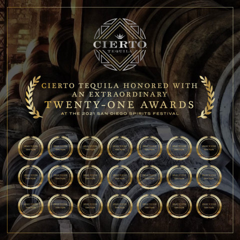 Cierto Tequila Honored With an Extraordinary Twenty-One Awards at the 2021 San Diego Spirits Festival (Photo: Business Wire)