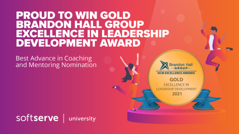 SOFTSERVE WINS GOLD IN 2021 BRANDON HALL GROUP EXCELLENCE IN LEADERSHIP DEVELOPMENT AWARDS (Graphic: Business Wire)
