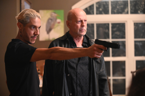 'Vendetta' is an action-thriller movie from Redbox Entertainment which will make its debut in 2022. Shown here (L-R) is Theo Rossi and Bruce Willis in a scene from the film. (Credit: Redbox Entertainment).