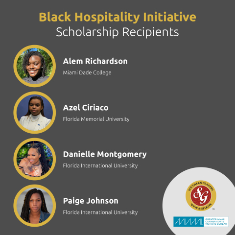 Black Hospitality Initiative scholarship recipients Alem Richardson, Azel Ciriaco, Danielle Montgomery, and Paige Johnson (Graphic: Business Wire)
