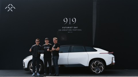 FF Founder YT Jia, Purist Group Founder Sean Lee, and FF Global CEO, Carsten Breitfeld Celebrate the Annual FF 919 Futurist Day on Sunday September 19, 2021 (Photo: Business Wire)