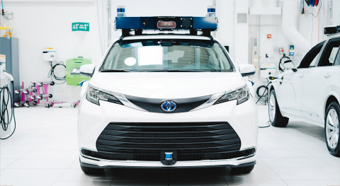 """This modified Toyota Sienna is Toyota's first mass-produced """"Sienna Autono-MaaS"""" (S-AM) prototype, which has a unique interface to work with third party autonomous driving systems. It's also the self-driving passenger car Aurora plans to deploy on ride-hailing networks in late 2024. (Photo: Aurora)"""