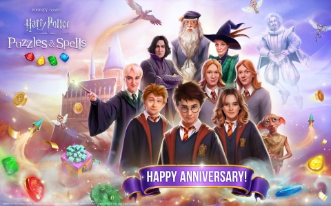 Zynga's Magical Match-3 Mobile Game, Harry Potter: Puzzles & Spells,   Celebrates One-Year Anniversary (Graphic: Business Wire)