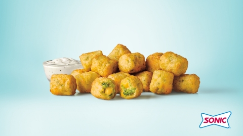 Featuring warm, steaming broccoli pieces, melty cheddar cheese and a satisfyingly crunchy exterior, SONIC Broccoli Cheddar Tots are the perfect bite-sized complement to your favorite SONIC order. (Photo: Business Wire)
