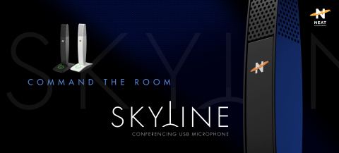 Neat Microphones' all-new Neat Skyline USB mic is the perfect desktop addition to significantly improve how you sound when conferencing with co-workers, family, and friends. Pre-order today so you can command the room with Skyline when it launches in October. MSRP $69.99 (Graphic: Business Wire)