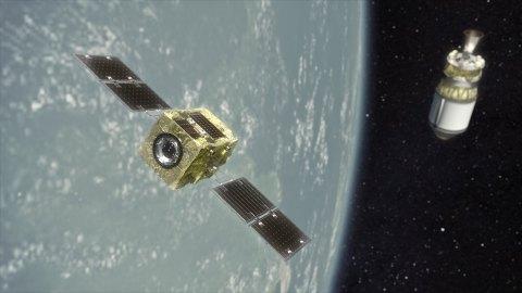 Render of Astroscale's ADRAS-J satellite, to be launched by Rocket Lab's Electron launch vehicle. (Photo: Business Wire)
