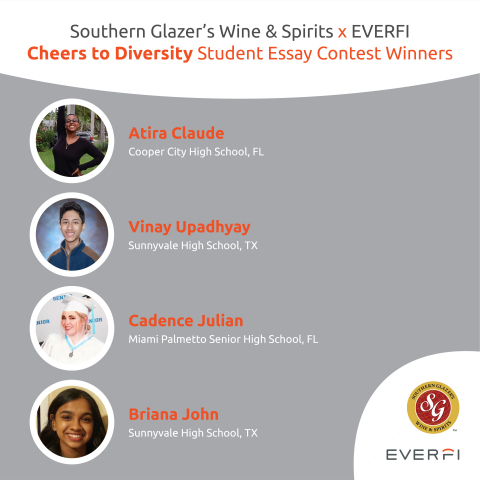 """Southern Glazer's Wine & Spirits launched its """"Cheers to Diversity Student Essay Contest"""" in partnership with EVERFI during Fall 2020. Four students were awarded $2,500 college scholarships for their submissions. (Photo: Business Wire)"""