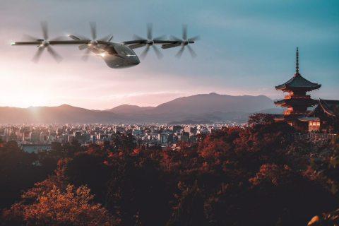 Vertical Aerospace's VX-X4 eVTOL over the Japanese skyline.