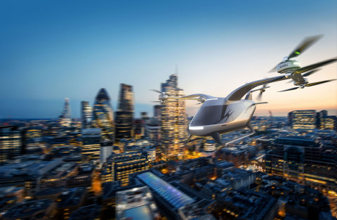 A concept image showing an eVTOL (electric vertical take-off and landing) powered by Evolito's electric propulsion unit. (Photo: Business Wire)