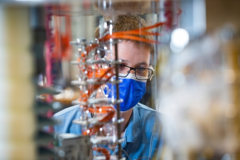 A test engineer works in SHINE's manufacturing facility in Fitchburg, Wis., on Aug 26. 2021  (Photo: SHINE Technologies)