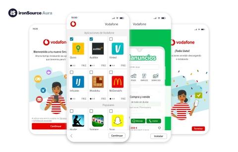 ironSource se asocia con Vodafone para integrar Aura en sus dispositivos Android (Graphic: Business Wire)