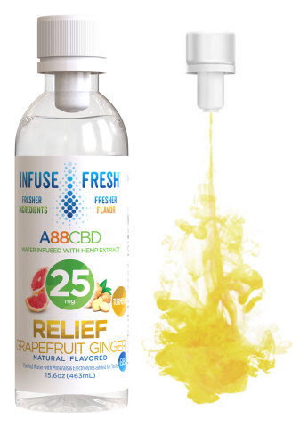 A88CBD™ uses the patented Vessl® Closure technology to store the CBD and other active and functional ingredients in a pressurized chamber in the bottle cap until the consumer twists it open for an instant infusion of fresh flavor and functionality. Just twist, infuse, and enjoy. (Photo: Business Wire)