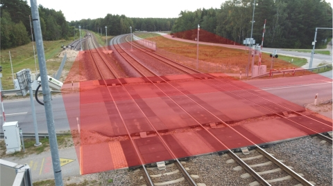 Visualization of Belam's obstacle detection system scanning area – dangerous zone on the level crossing. ©Belam. Photo Credit: Belam
