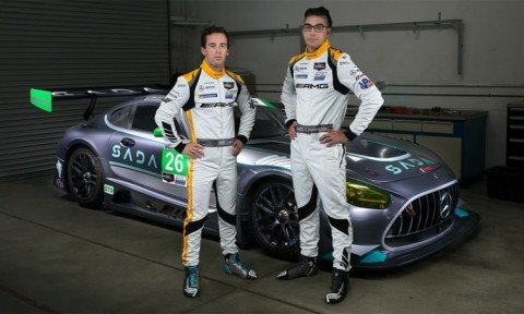 FROM RIGHT: Steven Aghakhani Co-Drives No. 26 Raymond James/SADA Systems/USRT Mercedes-AMG GT3 with Jacob Eidson in 100-Minute IMSA WeatherTech Sports Car Championship Race Saturday, September 25, in Long Beach. (Photo: Business Wire)