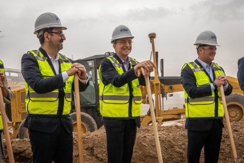 Keyvan Esfarjani (from left), Intel senior vice president, Intel CEO Pat Gelsinger and Arizona Gov. Doug Ducey stand at the Intel worksite in Chandler, Arizona, on Friday, Sept. 24, 2021, for a groundbreaking ceremony to celebrate the largest private-sector investment in Arizona's history. The construction of two new computer chip factories is a $20 billion project that will bolster U.S. semiconductor leadership and help bring geographical balance to the global supply chain. (Credit: Intel Corporation)