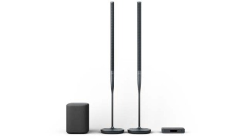 Featuring two ultra-slim floor-standing speakers, a powerful subwoofer and a digital hub, Harman Radiance 2400 represents the perfect blend of elegant, minimalist design, premium materials and stunning, wireless audio made possible, in part, by WiSA technology. (Photo: Business Wire)