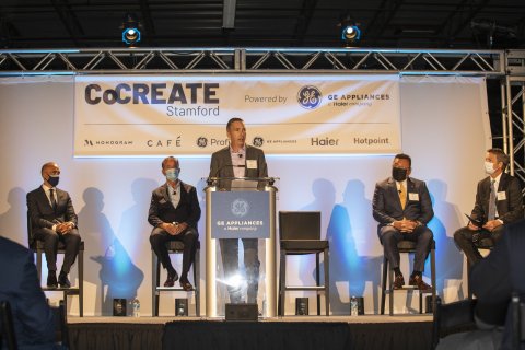 CEO Kevin Nolan speaks from podium at CoCREATE Stamford announcement (Photo: GE Appliances, a Haier company)