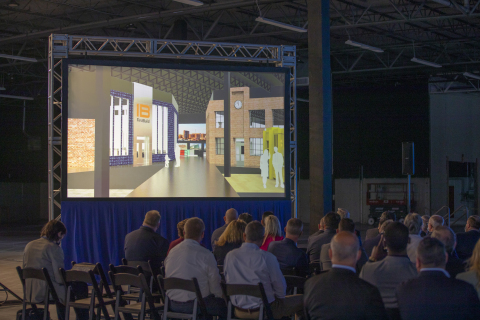 CoCREATE Stamford renderings on screen during the announcement (Photo: GE Appliances, a Haier company)