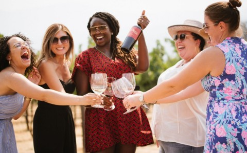 A group of guests visiting HALL St. Helena in Napa Valley and celebrating the release of the 2018 Kathryn Hall Cabernet wine. (Photo: Business Wire)