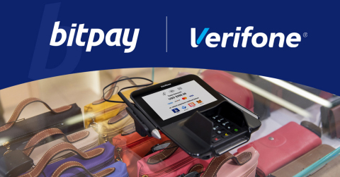 At checkout, consumers will select their preferred crypto wallet on a Verifone device and scan an on-screen QR code using their crypto wallet to complete the transaction. Once the crypto funds have been received by BitPay, the merchant will receive an approval message on the in-store terminal. (Photo: Business Wire)