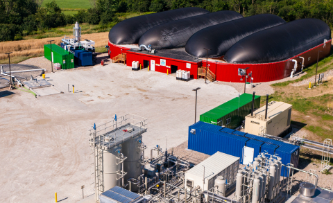 Vanguard Renewables Farm Powered anaerobic digester at Goodrich Farm in Salisbury, Vermont converts food and farm waste into renewable natural gas. (Photo: Business Wire)
